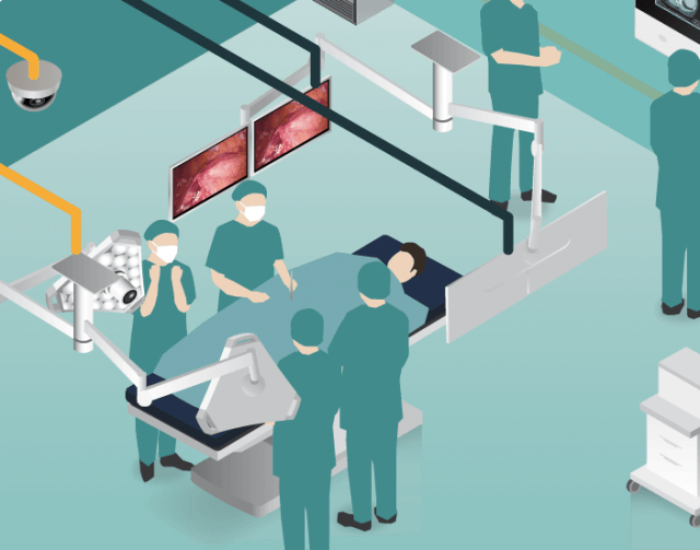 Surgical monitor near OR table